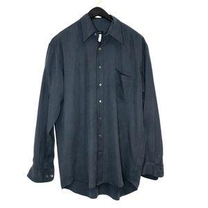 Bagutta mens button up front shirt 100% silk grey